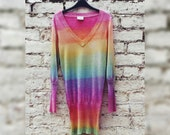 Knit Sweater Rainbow Glitter Jumper Christmas Sweater Dress Tie Dye Ladies to fit UK size 10 or US size 6
