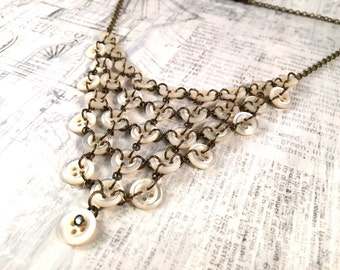 Vintage Button Statement Necklace - Vintage shell buttons chain maille