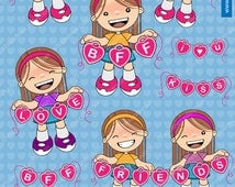 60% off Love Clipart - girls - Friends - BFF - Kiss _ I love you - illustrations - Commercial use images for your designs 012