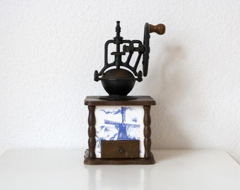 Large Traditional Wooden Coffee Grinder with Blue and White Windmill Motif Dutch Holland Coffee Grinder