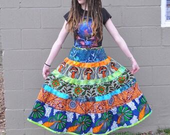 Summer Serenade Maxi Skirt // Ooak African Wax Print and Batik Hippie Tier Skirt