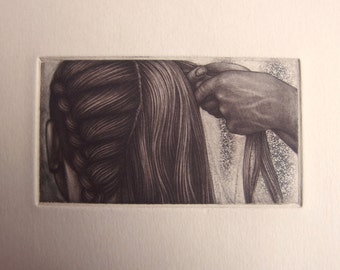 Braid - tiny unframed mezzotint/etching original intaglio print by Carrie Lingscheit