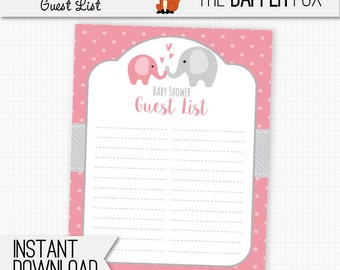 Baby Shower Guest List Pink Elephant   Printable Guestlist   Polka Dot Baby  Girl Pink And  Printable Baby Shower Guest List
