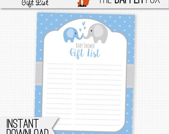 Baby Shower Gift List Blue Elephant   Printable Digital Giftlist   Polka  Dot Baby Boy Blue
