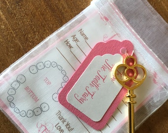 Pink Set of Tiny Tooth Fairy Receipts from Tooth Fairy