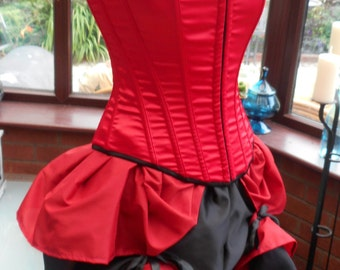 Halloween xmas red and black corset bustle dress steampunk goth burlesque victorian edwardian style satin corset frilled satin bustle skirt