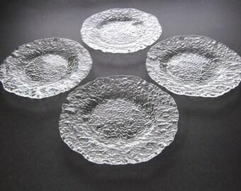 Pukeberg Ice Pebble, 4 Salad Plates, Handmade, Swedish, Uno Westerberg, Art Glass, Dessert Plates, Mid Century Modern, Scandinavian Modern