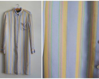 Vintage 90s Silk Ralph Lauren Women Long Sleeved Blouse Tunique. Buttons Silk Shirt. Lilac Yellow Green Stripes Silk Dress. Small Medium