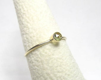 Tiny Solid Gold Stacking Rings Birthstone 14K Gold Thin Stackable Peridot Ring Thin Solid Gold Ring Size 6