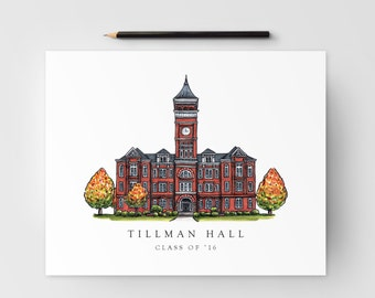Tillman Hall Print; Clemson Graduation Gift; Clemson, SC artwork, Print for Clemson student and alumni