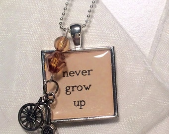 Never Grow Up Charm and Tricycle Necklace - Handmade Necklace