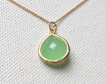 Mint Green Necklace, 14k Gold Fill Minimalist Jewelry, Simple Green Glass Necklace