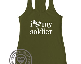 I love my soldier tank. Army love tank. Army wife tank. Army girlfriend racerback. Army support clothing. Army workout tank. Military wife.