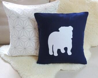 English Bulldog Pillow Cover - Modern Navy & White
