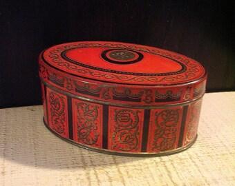 Vintage Biscuit Tin XOX Biskuits, Orange Oval Box, Vintage Kitchen, Autumn Colors, Art Deco, German, Vintage Tin Box