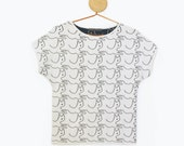 SALE! MIAU TEE white with cats pattern