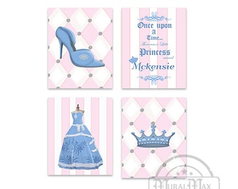 Girls room Decor,Personalized Princess Wall Art, Set of 4 Prints - Princess Crown Shoes Ball Gown