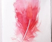 Pink Feather painting/ Watercolor original only/ Feather wall art/ Feather illustration 7,5x11/ Home and living/ Fantasy feather drawing