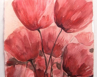 Original poppy watercolour, painting of Fields of Poppies. Art original. Watercolor painting original/ Floral illustration 7,5 by 11