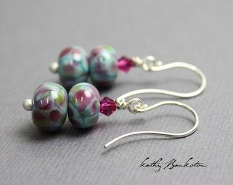 Pink and Blue Bead Earrings, Pink Lampwork Earrings, Pink Bead Earrings, Pink Dangle Earrings, Lampwork Earrings, Kathy Bankston, Earrings