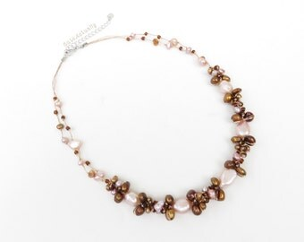 Pink brown freshwater pearl necklace with glass beads on silk thread, pink brown necklace