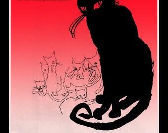 Vintage Black Cat Fridge Magnet, My Sin perfume ad image, Lanvin, naughty, Red or Yellow