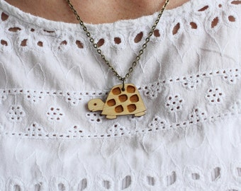 Laser Cut Wooden Turtle Necklace /Tortoise Necklace