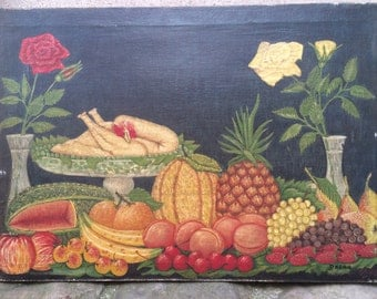 Antique European Folk Art Naive art oil painting primitive still life paintings early 20thC naif nature morte Signed