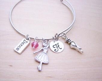 Personalized Bracelet - Ballet Bracelet - Dance Bracelet - Gift for Dancer - Adjustable Bangle Silver Bracelet - Gift for Her