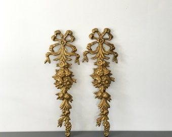 vintage solid brass wall decor panels ribbon ornate hollywood regency