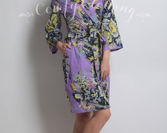 Floral kimono crossover robe, Bridesmaids robes, maid of honor robe, bridesmaid gift, dressing up robe, bridal shower party robes