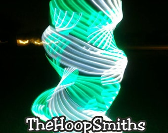 LED Hula Hoop Polypro HDPE Quad Green White By TheHoopSmiths