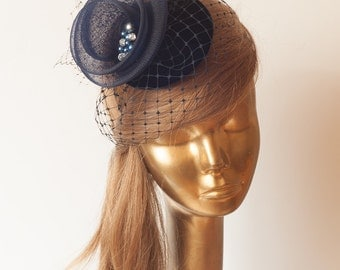 Navy Blue FASCINATOR with BIRDCAGE VEIL  Wedding Mini Hat with Veil
