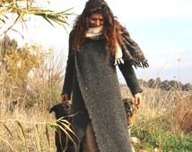 Wool hooded long sweater, long warm wrap jacket, womens winter coat, poly wool coat, maxi sweater coat, warm long sweater coat, boho coat