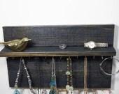 Jewelry Organizer Display Hanger Holder Shelf Ebony Stain Handmade Rustic Ready to Ship