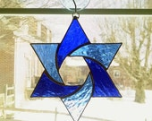 Stained Glass Star Suncatcher - Star of David - Jewish Decor - Blue Star - Jewish Star - Religious Decor - Star Ornament - Hanukkah Gift