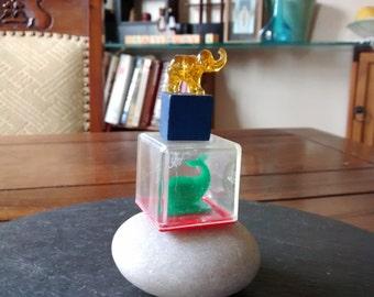 Whale rattle box & mini glass elelphant VTG wood plastic baby blocks mix media art assemblage Halloween artist birthday craft supply gift