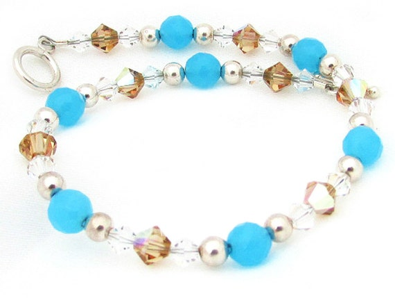 Turquoise Bracelet, Crystal Bracelet, Bride Bracelet, Glass Bracelet, Wedding Bracelet