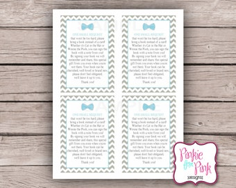 INSTANT Download Baby Boy Shower Bring a Book Instead of a card Insert Cards, Baby Blue Little Man Bow tie- Digital File Download