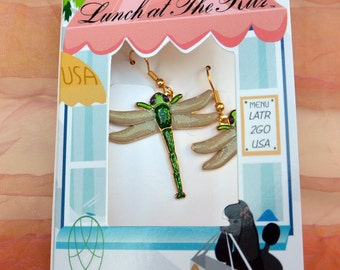 Lunch at the Ritz 2GO Earrings - UNUSED - Dragonfly, Signed, Discont - Vintage - Stunning!