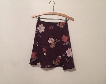 Dark Purple Floral Print Satin Mini-Skirt - Early 90s
