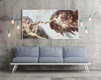 Counted Cross Stitch PATTERN The Creation of Adam by Michelangelo, Cross Stitch Chart PDF