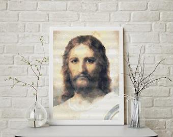 Mini Cross Stitch PATTERN Jesus by Heinrich Hofmann, Cross Stitch Chart PDF