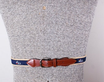1980s Era Preppy Navy Sailboat Nautical Canvas Leather Brass Mens Belt 42 inches long