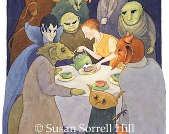 Demons to Tea no. 2 - original watercolor painting - surreal fantasy fairytale watercolour - monster magic tea party - Buddhist Zen tale