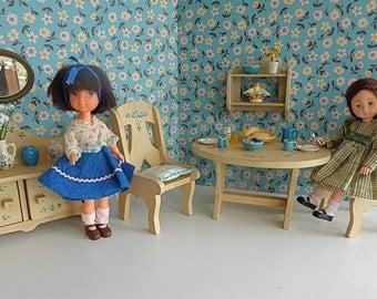 "HAND-PAINTED FURNITURE in Miniature Dining Room for 7""-10"" Dolls like Blythe, Bjds, Ginny, Likka, Lotttie,Pepper, Skipper, Toni"