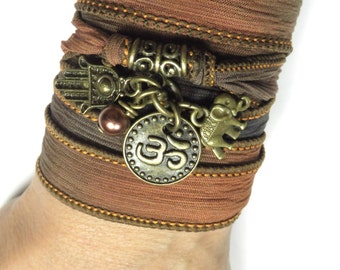 Namaste Hamsa Yoga Jewelry Silk Wrap Bracelet Elephant ,Om Jewelry Bohemian Spiritual Wrapped Bracelet Hamsa Hand Of Fatima Gift For Her