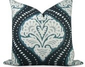 "Ogee design motif, pillow cover in midnight blue and a muted blue -  18""x18"" - same fabric BOTH Sides - Invisible Zipper"