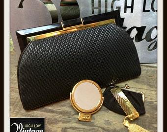 Vintage Judith Leiber Black Leather Gold Hardware Clutch Handbag Bag Purse FREE SHIPPING