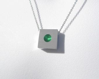 Minimalist Green Necklace – Minimalist Jewelry – Industrial Jewelry – Geometric Jewelry